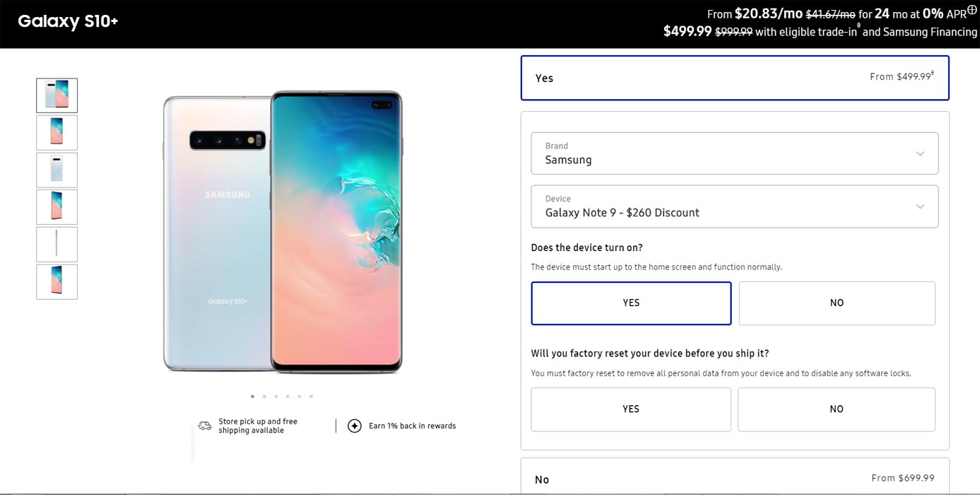 Samsung Galaxy S10 Plus Trade in Offer