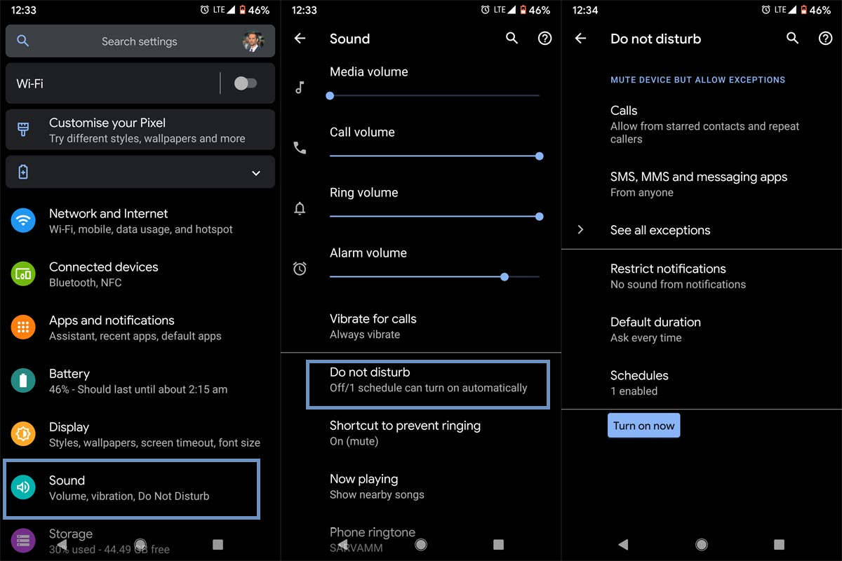 Setup DND in Default Android Settings