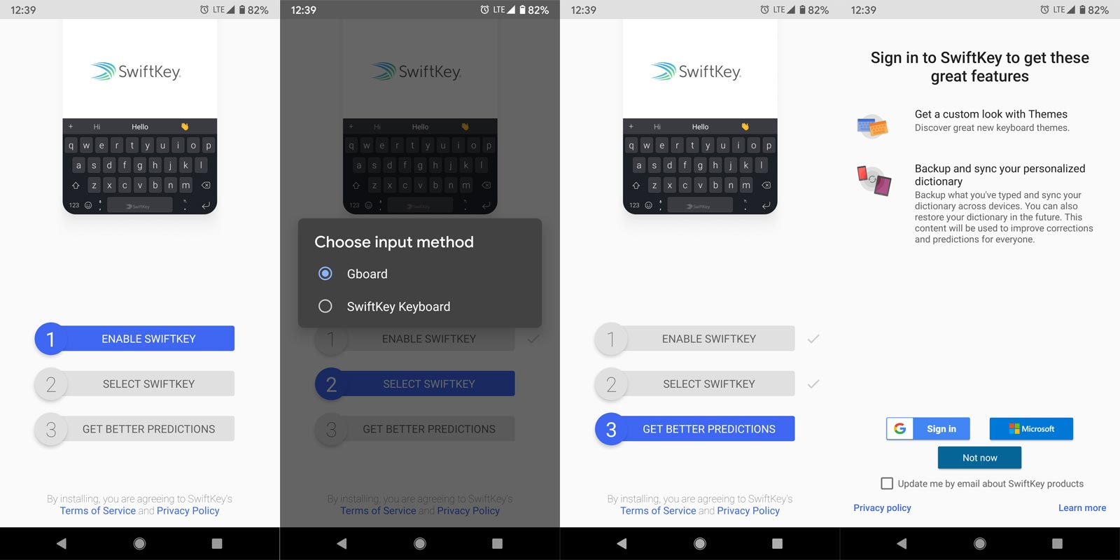Swiftkey App Setup Screenshots