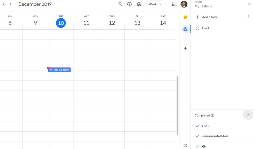 Tasks in Google Calendar