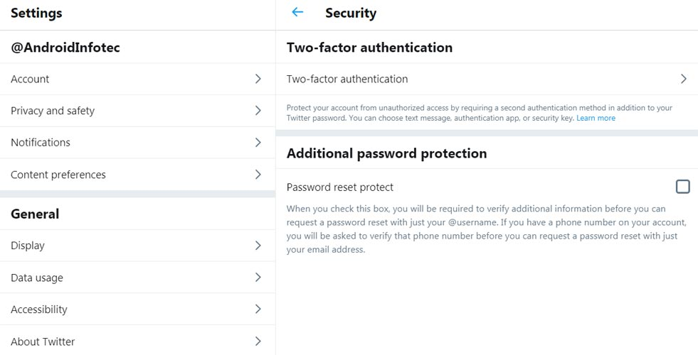 Twitter Two factor Authentication Enable Option