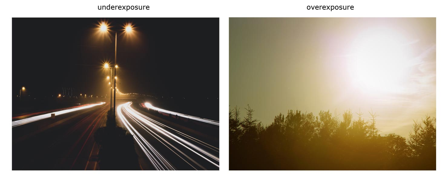 underexposure and overexposure photo samples