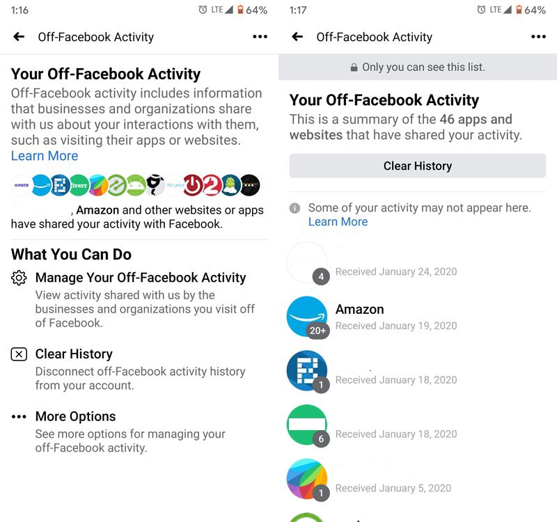 Clear off-Facebook activity Mobile App