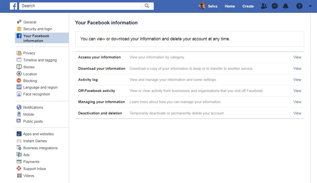 Facebook Information Settings