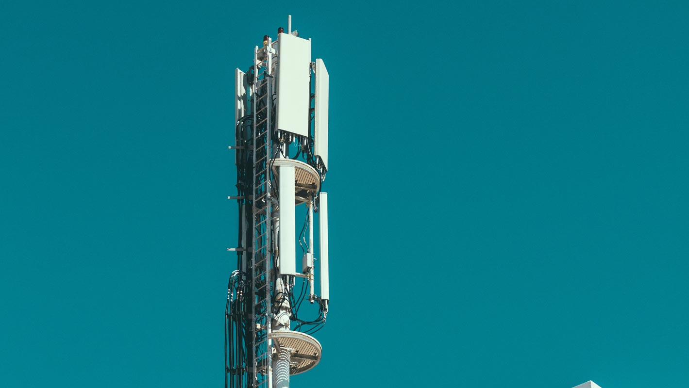 Mobile Tower with Blue Background