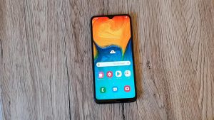 Samsung Galaxy A40s on the Wooden Table