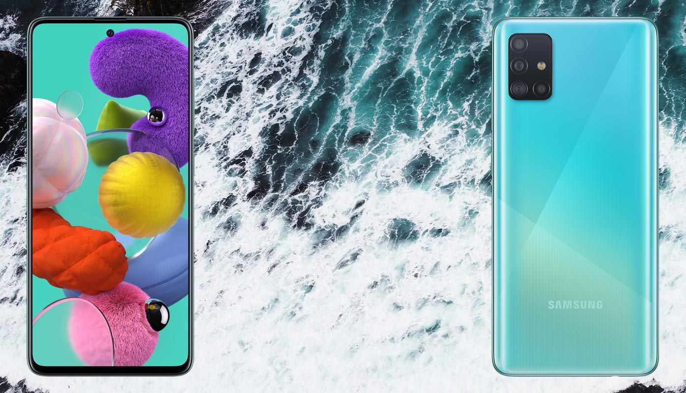Samsung Galaxy A71 With Sea Wave Background
