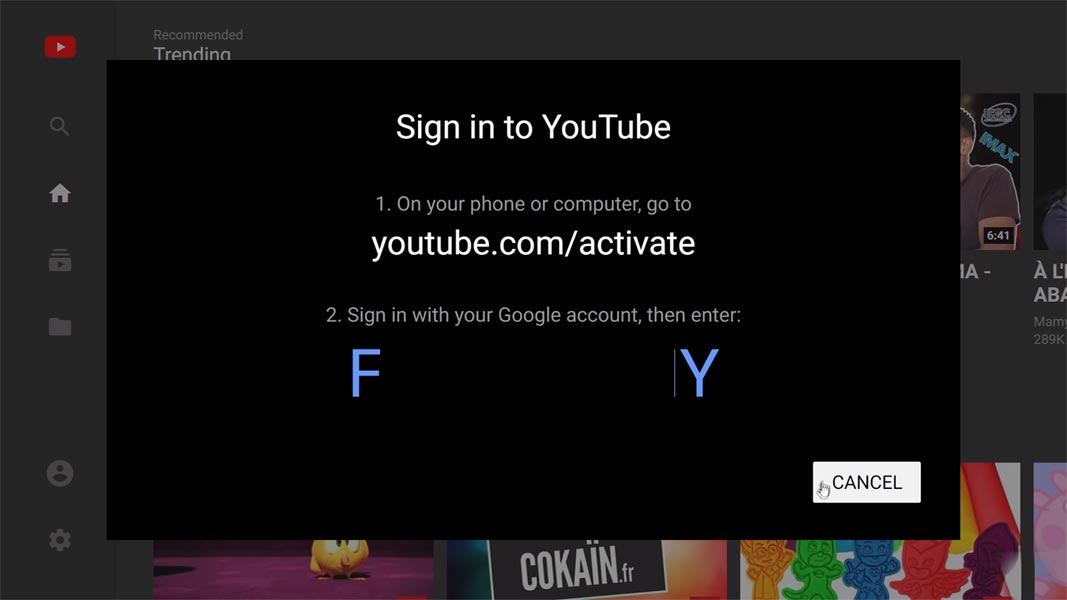 Sign in Youtube App Smart TV