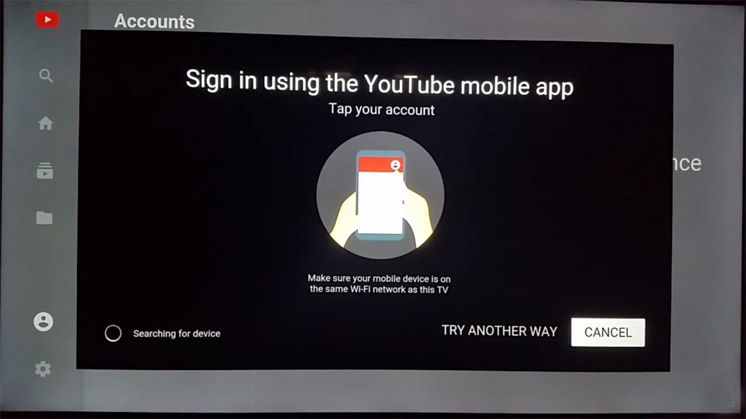 Sign in Youtube Mobile Method on Roku