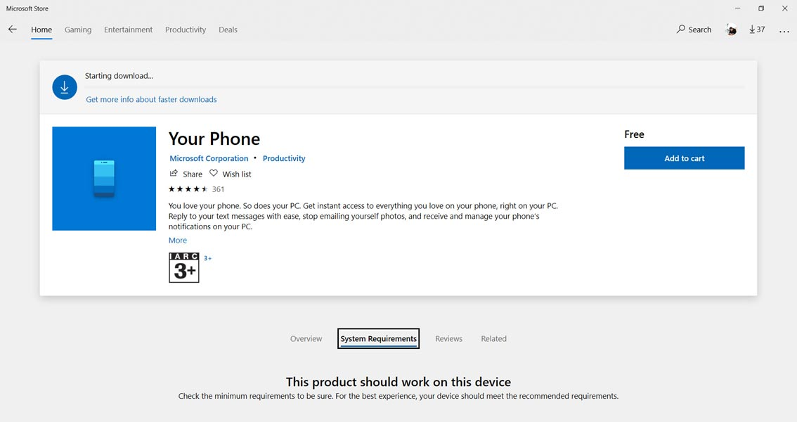 Your Phone App from Windows Store