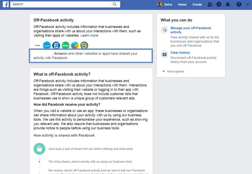 off-Facebook activity Facebook Information Settings