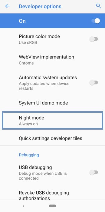 Android Pie Developer Options Night Mode