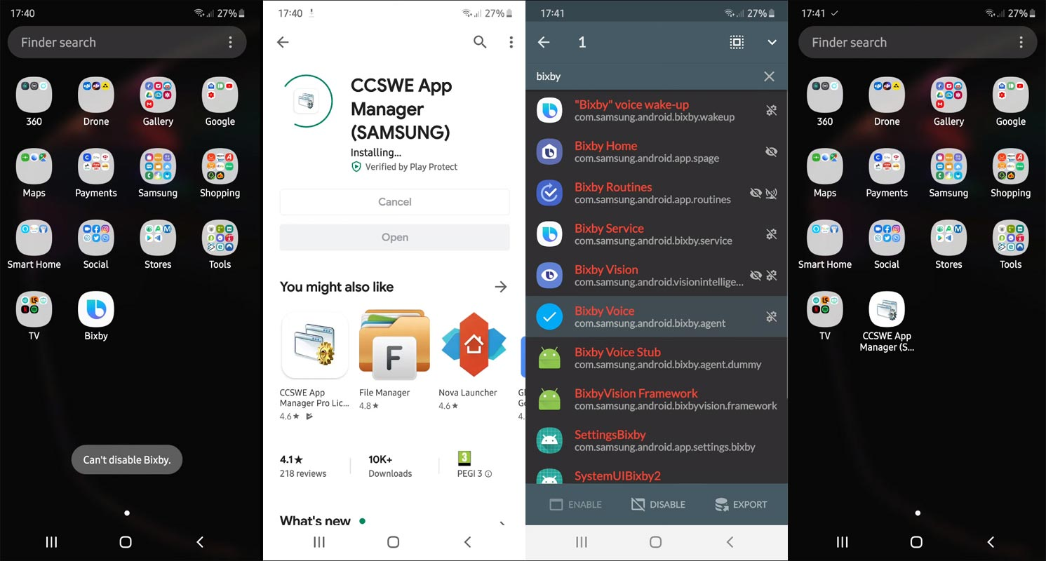 Disable Bixby using CCSWE App Manager