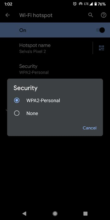 Hotspot Security Type Android
