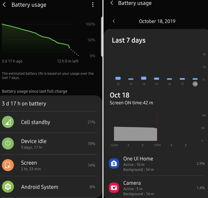 One UI 2.0 Battery Stats