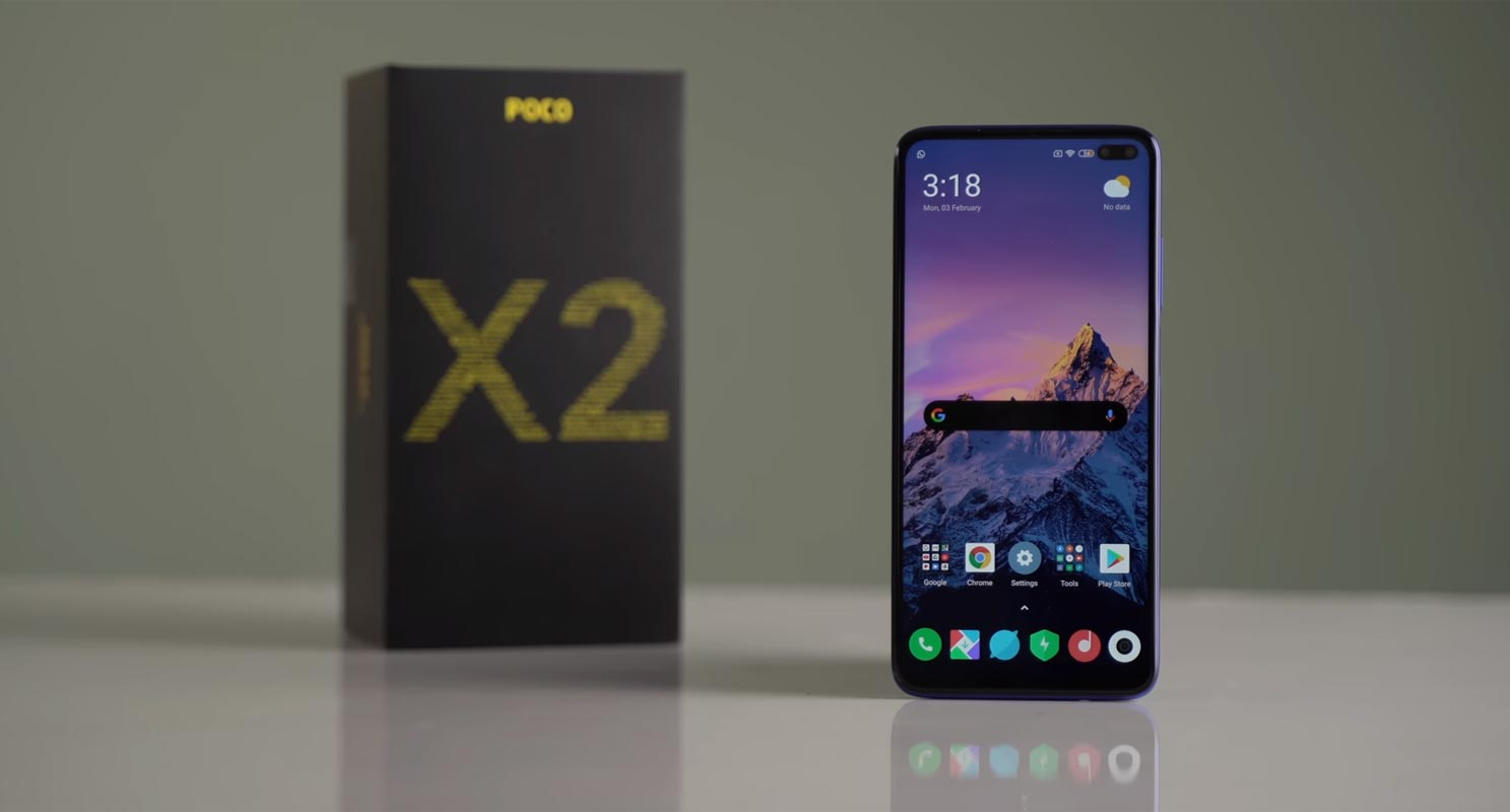 Poco X2 on the Wooden Table with Retail Box