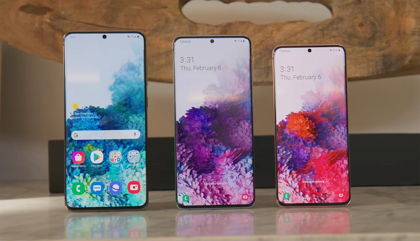Samsung S20 Plus and Ultra Variants in the Front Side position