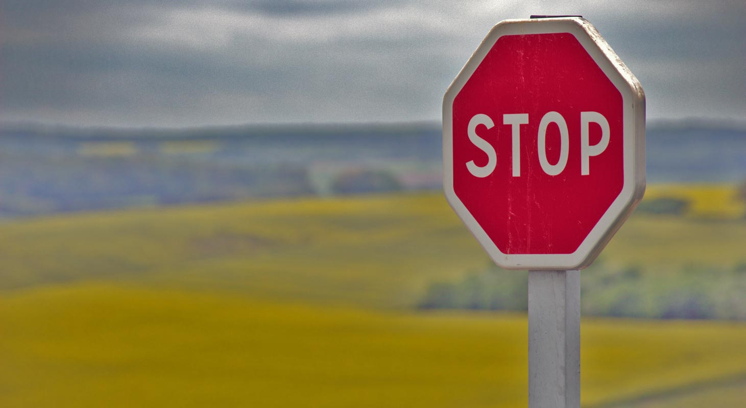 Stop Sign in Road