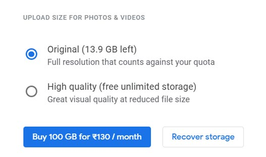 Storage Type Google Photos