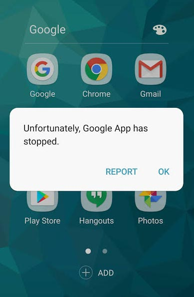 Unfortunately App has stopped notification