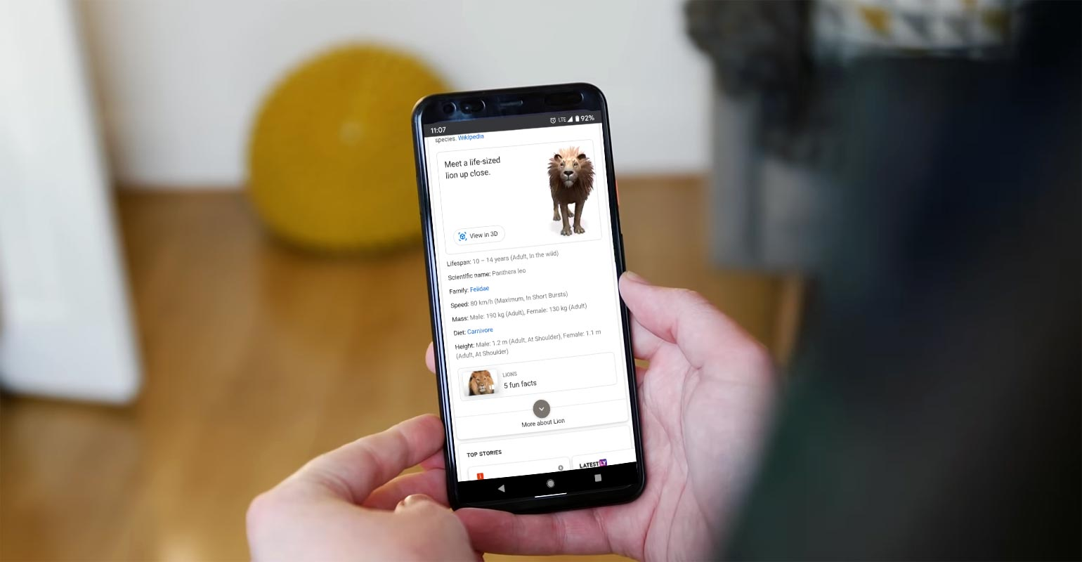 Google AR 3D Animals Lion in the Search Result
