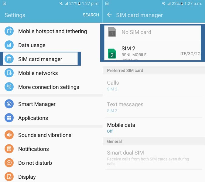 SIM Card Manager Settings Android
