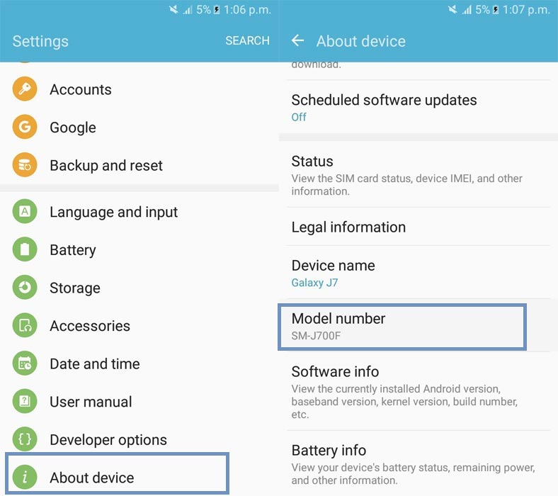 Samsung Galaxy Model Number Check