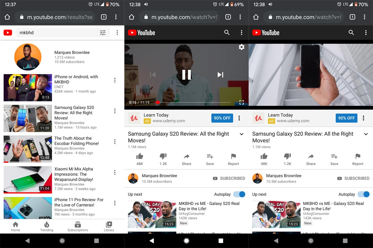 YouTube Mobile Site in Chrome