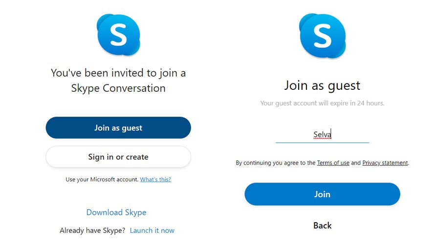 Join as Guest in Skype Call