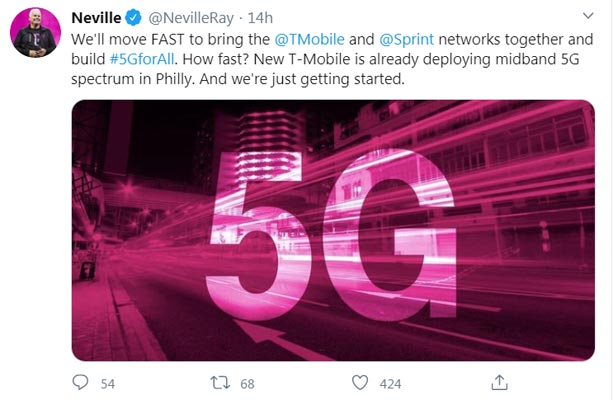 Nevelle President of T-Mobile Confirmed about Sprint 5G