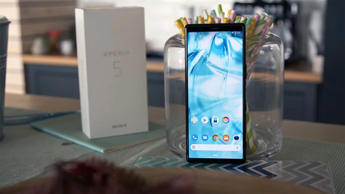 Sony Xperia 5 With Retail Box on the Table