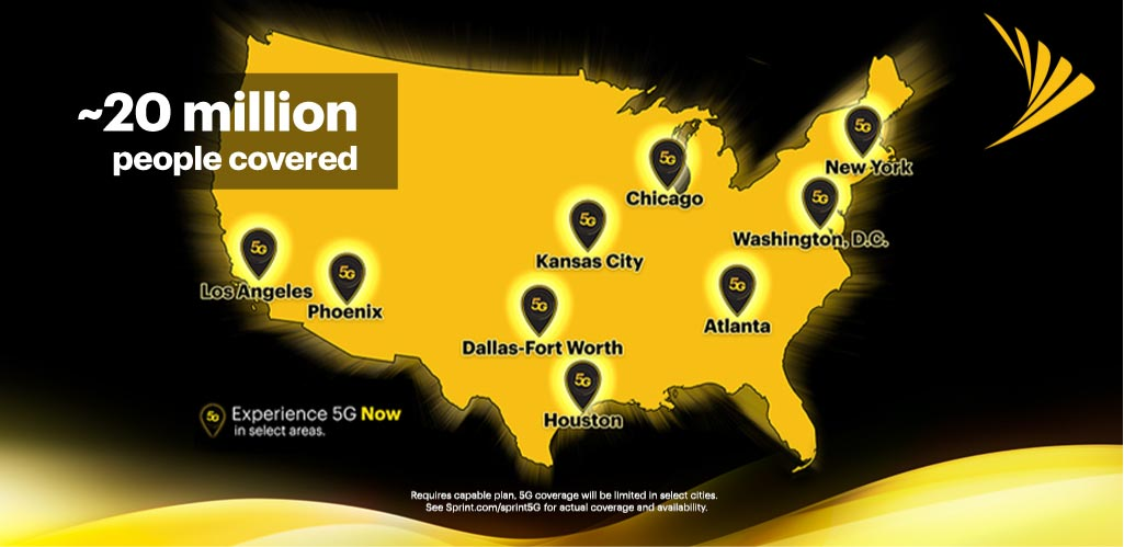 Sprint Old 5G network coverage area