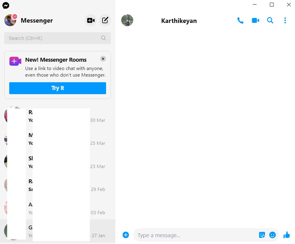 Facebook Messenger App Home Page