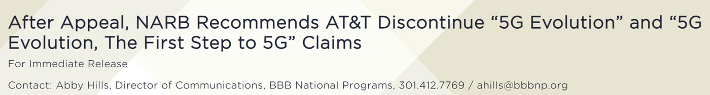 NARB Action on AT&T 5G E Claim