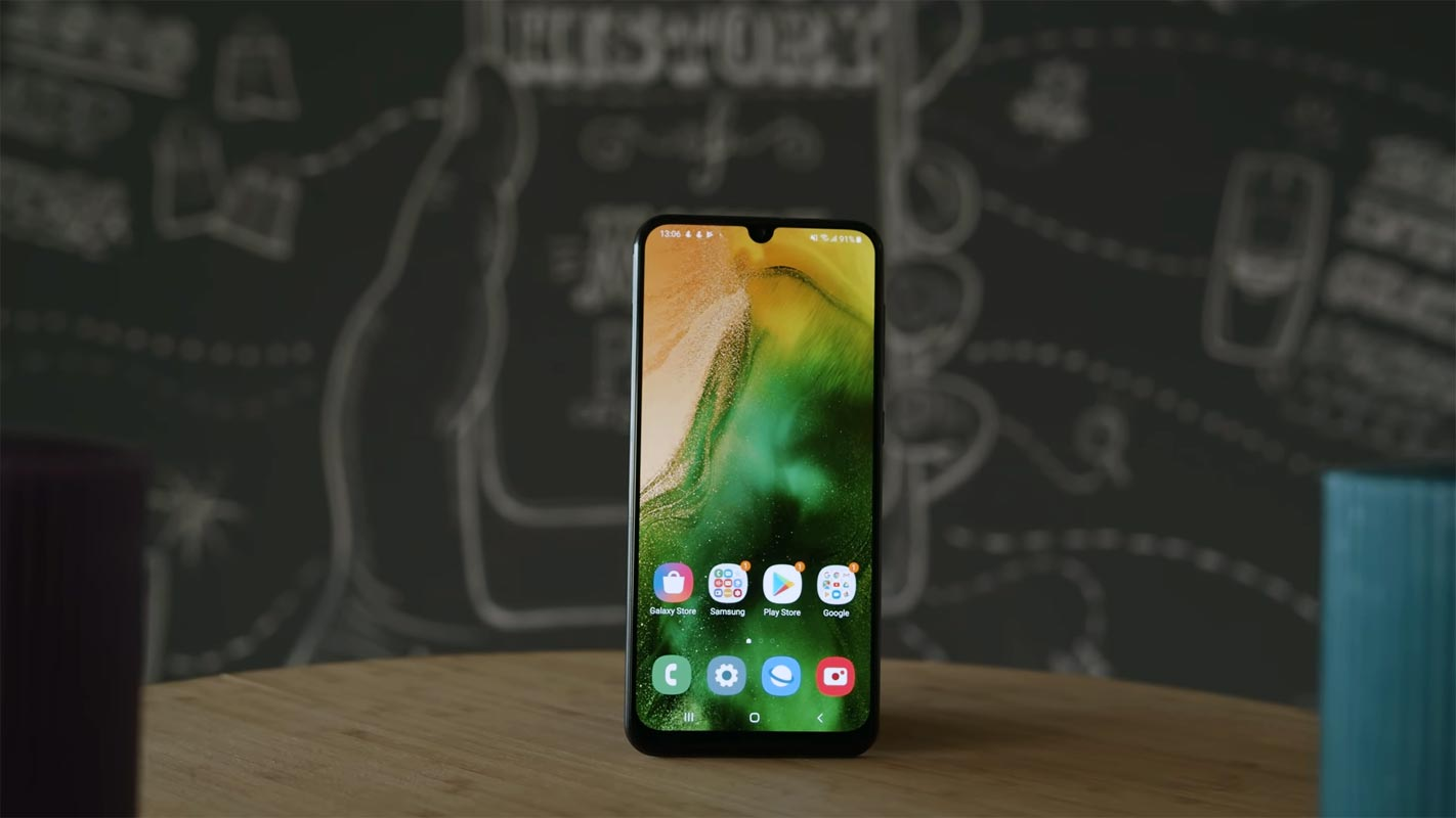 Samsung Galaxy A50 Front Side on the Table with Candle Lights