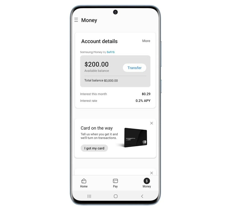 Samsung Money By Sofi Physical Card and Account