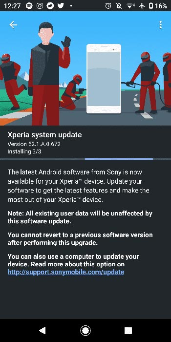 Sony Xperia XZ2 Android 10 OTA Screenshot