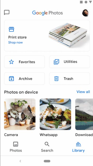 Google Photos Redesigned Library screen