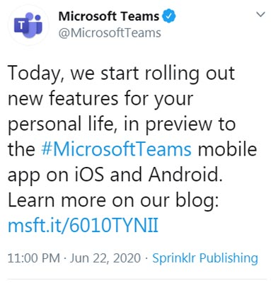 Microsoft Teams Personal use Official tweet