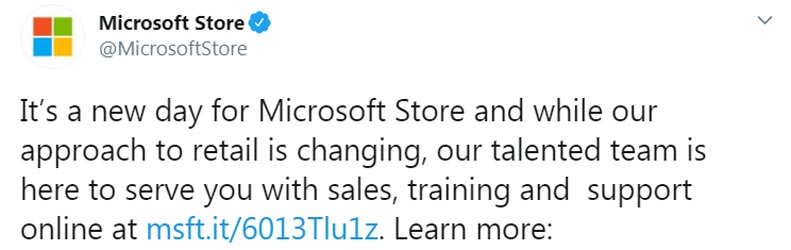 Microsoft is closing all physical stores permanently official tweet