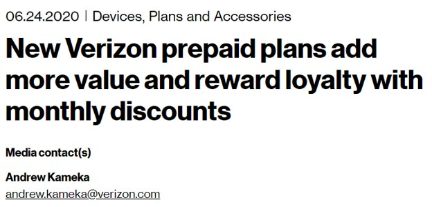 New Verizon Wireless Prepaid Plans offers Loyalty-based Rewards Official Blog Post