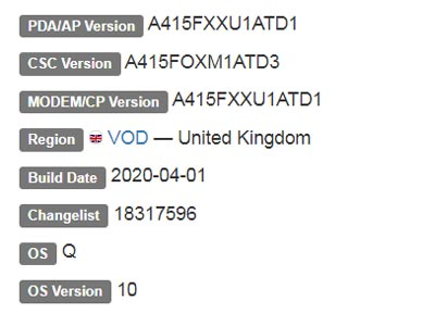Samsung Galaxy A41 Android 10 Firmware Details