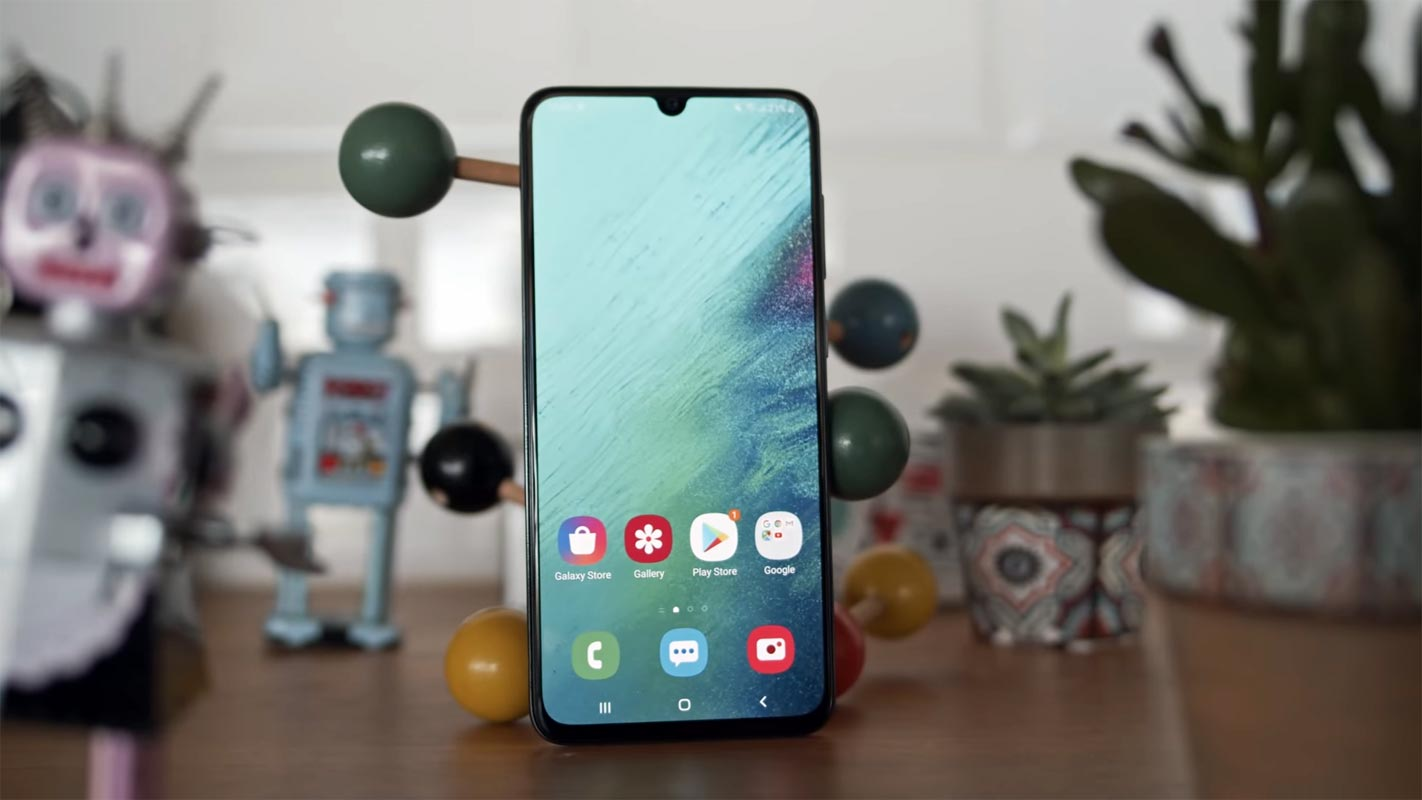 Samsung Galaxy A70 with Robot Toys