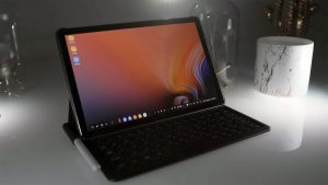Samsung Galaxy Tab S4 in the Laptop Mode with Keyboard and S Pen