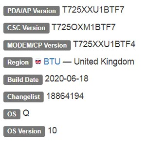 Samsung Galaxy Tab S5e Android 10 Firmware Details