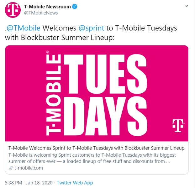 Sprint Customers can access T-Mobile Tuesday Promotions Official tweet
