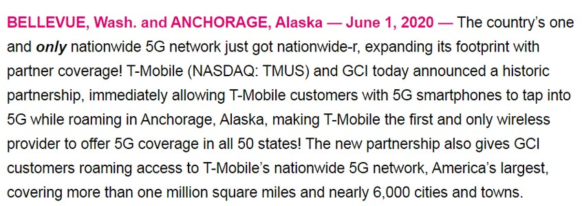 T-Mobile Statement on 5G Coverage in 50 States in the USA