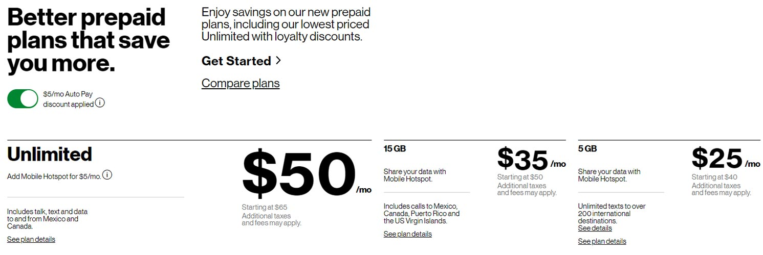 Verizon New Prepaid Plans List