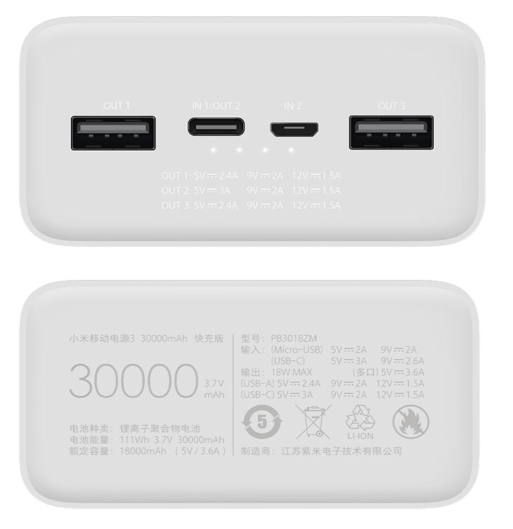 Xiami Mi Power Bank 3 Ports and Power Details