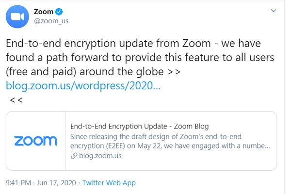 Zoom End-to-End Encryption Official Tweet
